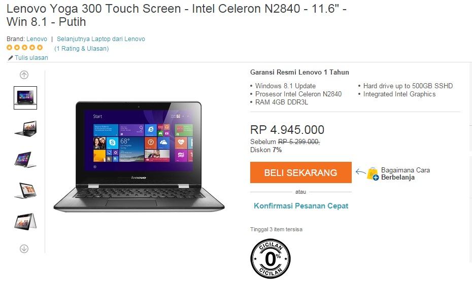 notebook lenovo Yoga 300 Touch Screen