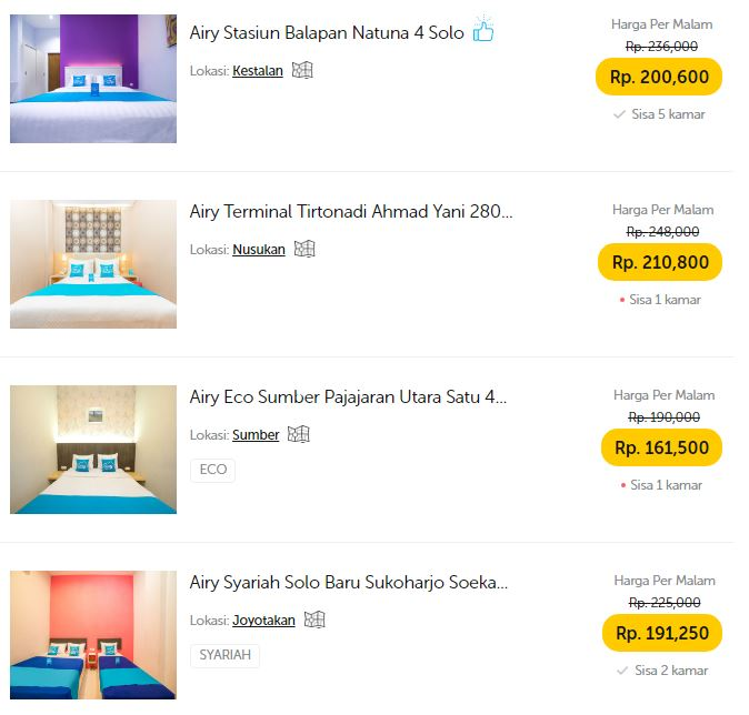 Pilihan hotel budget di Solo by Airy Rooms